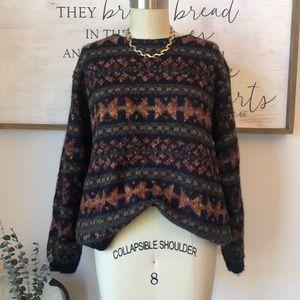 VTG Vintage Patterned Mohair Blend Sweater L